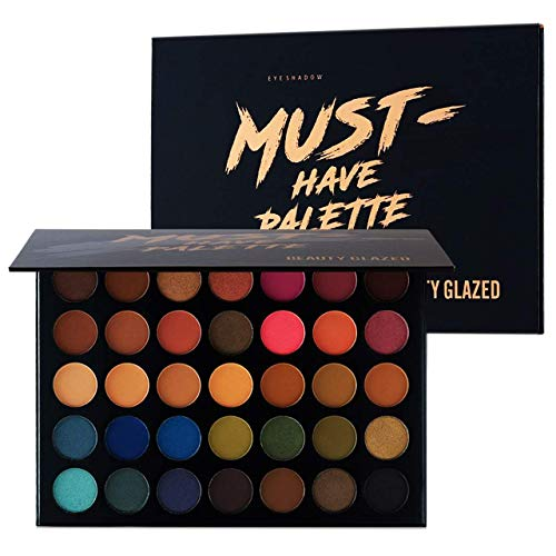 Make Up Eyeshadow Palette 35 Colors Blendable Chunky Pigmented Matte and Shimmer Pop Colors Eye Shadow Powder Waterproof Eye Shadow Palette Cosmetics Christmas Gifts