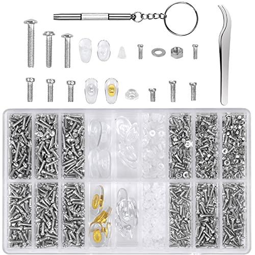 1000Stück Brille Schrauben Set, Brillen Schrauben Reparatur, 8Paare Nasenpads, 21Arten Brillen Reparatur, Brillenreparatur Zubehör mit Schraubendreher Pinzette