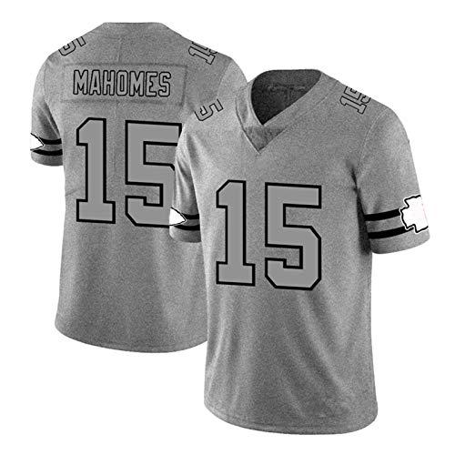 FGRGH Camiseta de rugby para hombre Chiefs # 15 Mahomes Rugby Football Camisetas estampadas con mangas bordadas Transpirables Grey-L