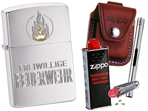 Zippo Freiwillige Feuerwehr + Zippo Pouch mit Zippo Zubehör und L.B Chrome Stabfeuerzeug (mit Clip Braun Pouch)