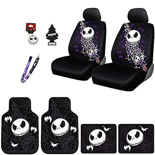 Yupbizauto Nightmare Before Christmas Jack Skellington Car Truck SUV Seat Covers Rubber Front and Rear Floor Mat Set with Little Tree Air Freshener