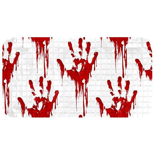 Bath Tub Shower Mat Non-Slip Halloween Horror Bloody Hand Print Bathtub Mats with Suction Cups and Drain Holes Bathroom…