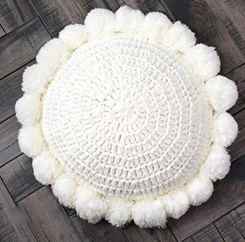 Geyan Cojín redondo de punto con pompones y pompones trenzados para decoración de sofá, almohada de yoga, reposamanos para la habitación de los niños
