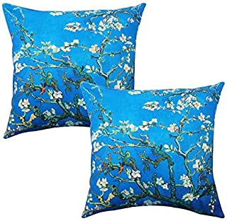 Unibedding Throw Pillow Cover Case, Arts Painting Almond Blossom Spring Flower Pillowcase, Outdoor Cotton Linen Burlap Decorative Cushion Cover Set of 2, Blue Double Sides 18