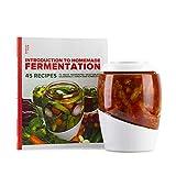 Mortier Pilon - Vaso de fermentación de vidrio de 2 litros + libro de recetas gratis - Hacer alimentos fermentados caseros fáciles (kimchi, encurtidos, chucrut, verduras orgánicas)