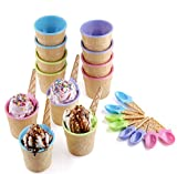 Emoyi Vibrant Colors Ice Cream Dessert Bowls and Spoons Frozen Yogurt Cups Set of 8