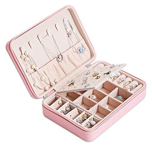 Joyero Pequeña, Caja Joyero para Mujer, Caja de Joyas de Cuero, Joyero portátil de Viaje para Mujer, Jewelry Organizer para anillos, pendientes, collares, pulseras (Rosado)