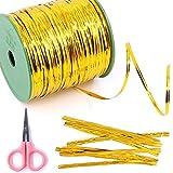 Glarks 350 Yard Yellow Metallic Twist Ties for Bread Candy Bag Parties Decorative Ties