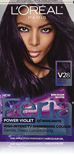 L'Oreal Paris Feria Multi-Faceted Shimmering Permanent Hair Color, V28 Midnight Violet (Deepest Violet), Pack of 1, Hair...