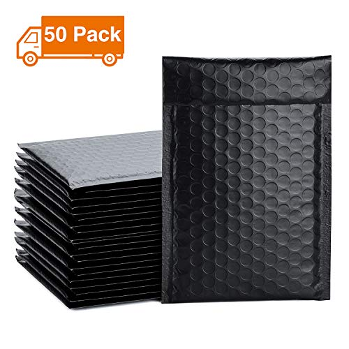 Metronic 50pcs Poly Bubble Mailers 4x8 Inch Padded Envelopes #000 Bubble Lined Poly Mailer Self Seal Black