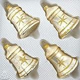 4 TLG. Glas-Glocken Set in Ice Champagner Gold Komet - Christbaumkugeln - Weihnachtsschmuck-Christbaumschmuck
