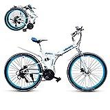 Adulto Bicicleta Plegable,Folding Bike con Doble Freno de Disco,21 Velocidades Suspensión Completa Premium Shimano,First Class Urbana Bicic Plegable,24/26 Pulgadas