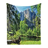 Lunarable Yosemite Soft Flannel Fleece Throw Blanket, Upper Yosemite Falls Yosemite National Park California Picture, Cozy Plush for Indoor and Outdoor Use, 50' x 70', Green Blue