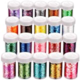 20 Boxes Chunky Glitters Sequins, Teenitor Holographic Cosmetic Festival Iridescent Flakes Paillettefor Body Face Hair Make Up Nail Art Mixed Color Glitter, 20 Colors,17g Each Bottle