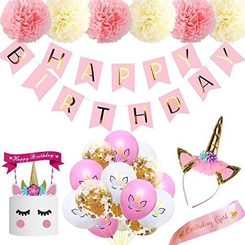 Ywen Unicorn Party Supplies 8inch Pink Birthday Banner Decorations Paper Pompom ,Unicorn Cake Topper Headband and Birthday Sash for Girl,12inch Unicorn Birthday Balloon