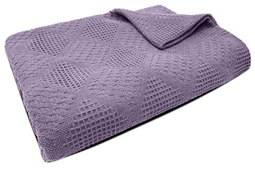Tracy Porter - Jacquard Woven Cotton Blanket - 350GSM - Lavender - King