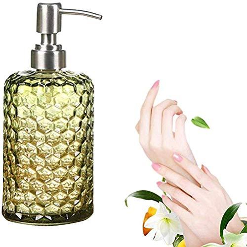 WLD Botella de Cristal dispensador de jabón, de Alta Capacidad de 500 ml Botella de jabón de Mano con Bomba de Acero Inoxidable for el desinfectante, Gel de Ducha, champú y...
