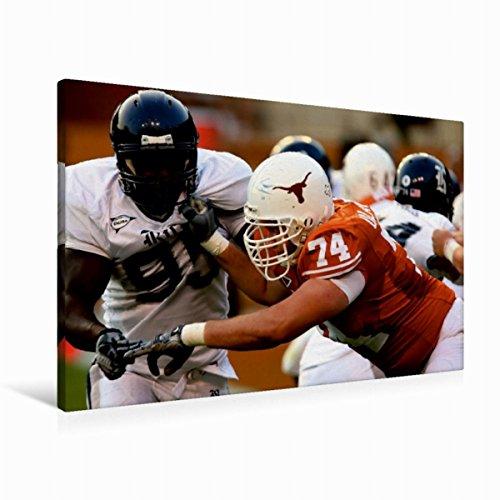 CALVENDO Premium Textil-Leinwand 90 cm x 60 cm quer, Herausforderung | Wandbild, Bild auf Keilrahmen, Fertigbild auf echter Leinwand, Leinwanddruck: Packende Welt des American Football Sport Sport