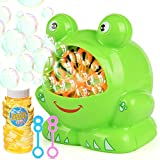 Elover Bubble Machine for Kids, Automatic Bubbles Blower Durable Bubble Maker with Bubble Solution High Output Over 500 Bubbles Per Minute for Christmas/Party/Wedding, Battery Operated (Not Include)