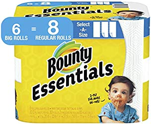 Bounty Essentials Select-A-Size Paper Towels, 6 Big Rolls = 8 Regular Rolls