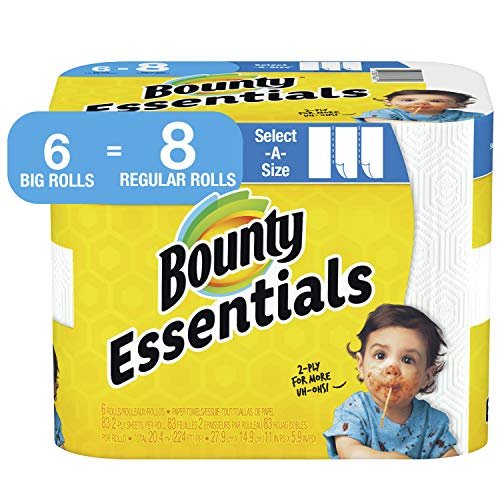 Bounty Essentials - Papel higiénico adaptable, 6 rollos grandes = 8 rollos normales