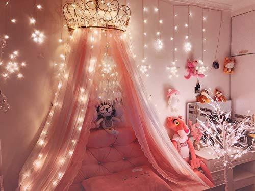 KID LOVE Princesa De La Corona Mosquito,Dosel De Cama Rosa Cúpula Netting...