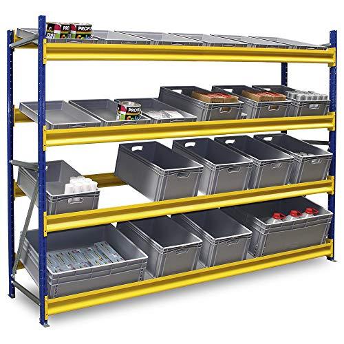 Kommissionierregal/Bereitstellungsregal für Eurobehälter 800 x 600 oder 600 x 400 mm, Stecksystem, erweiterbar, 4 Ebenen, Fachbreite 2700 mm, HxBxT 2500 x 2780 x 600 mm