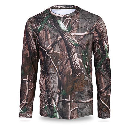 Realtree Edge Camo Langarm Polyester Shirt Outdoor Jagd Rundhals T-Shirt Gr. Large, a
