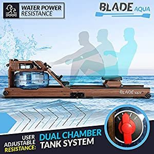 Bluefin Fitness Blade Aqua W-1   Water Resistance Powered Rowing Machine   100% Sustainable American Ashwood   Foldable Home Gym Equipment   LCD Console + Heart Rate Monitor   Kinomap App Integration