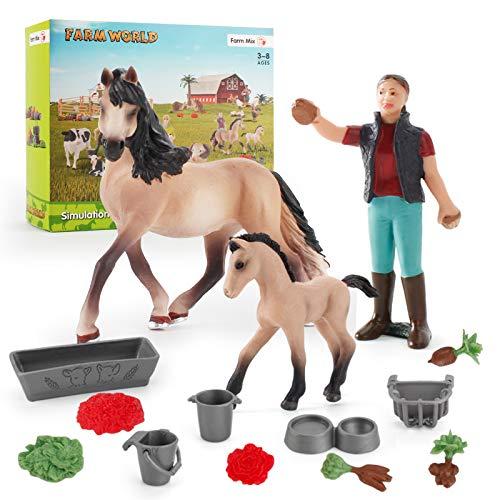Farm World Animal Figure Toys 3 PCS Horse Model Playset Realistic Animals Action Figure Model Cake Topper Toy Set