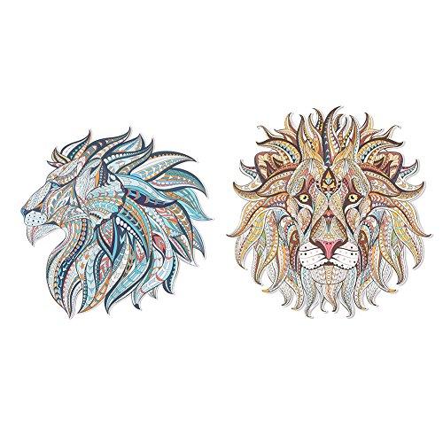 2 pezzi adesivi di trasferimento 3D fatti a mano stili di animali assortiti patch di decorazione per abbigliamento giacche zaini patch di jeans(Leone d'oro + tigre blu)