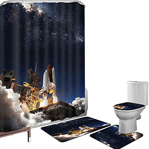 Shower Curtain Set Bathroom Accessories Carpet Set Galaxy Space Shuttle on Take Off Discovery Mission to Explore Galaxy Spaceship Solar Adventure Bath Mat Contour Rug Toilet Cover Multicolor Non-Slip