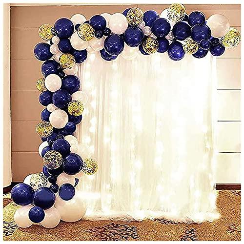 YYQQ Globos Kit De Arco De Guirnalda, 109PCS Globos De Látex Azul Blanco, Confetti Party Globos De Fiesta para Cumpleaños Baby Shower Fiesta Boda Globos Despedida De Soltera Decoracion