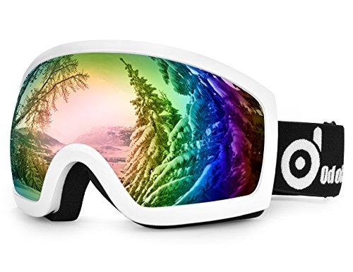 Odoland Skibrille, Ski Snowboard Brille Brillenträger Schibrille OTG UV-Schutz Kompatibler Helm Snowmobile Damen Herren Kinder für Skifahren VLT 18% Weiß + Grün((Weißer Rahmen)