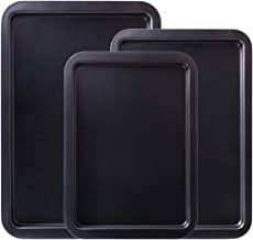 Amazqi Baking Sheet Nonstick, Cookie Sheets for Baking Nonstick 3 Set, Heavy Duty Large Size Carbon Steel 15/17/19 Inch Pr...