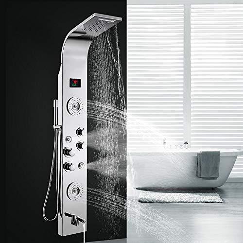Hlluya Wasserhahn für Waschbecken Küche 304 Edelstahl smart beheiztes Badezimmer Dusche Bad mit Dusche Duschpaneel Regen Armaturen B