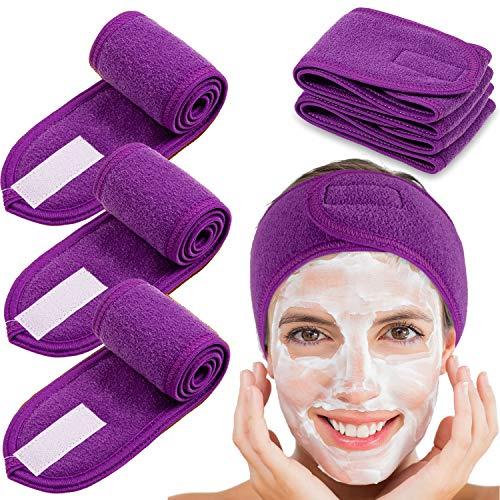 Diadema facial de spa Whaline 4 paquetes de rizo para la cabeza, toalla elástica ajustable para baño, maquillaje y deporte (morado)