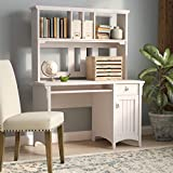 Antique White Computer Desk with Hutch Modern Writing Desk with Storage Shelves Office Desk Study Table Gaming Desk Workstation for Home Office Computer Desk with Drawers and Shelves