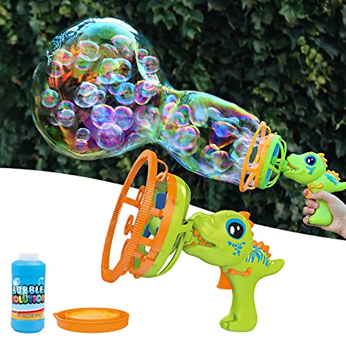 Bubble Machine Bubble Gun Dinosaur Bubble Blower Toy for Kids and Toddlers Bubble in Bubble Machine Maker with 8 oz Bubble Solution Gift for Girls and Boys 3 4 5 6 Years Old for Parties Outdoor