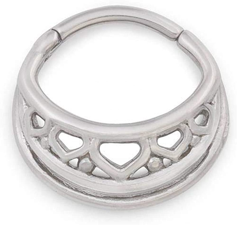 Painful Pleasures 16g Stainless Steel Septum Jewelry — Clicker Ring with Maori Polynesian-Inspired Design