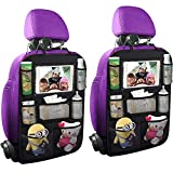 ONE PIX Backseat Car Organizer Mats Backseat Storage Bag with Table Holder for Kids Toddlers, Travel Accessories (1Pack) (2PC)