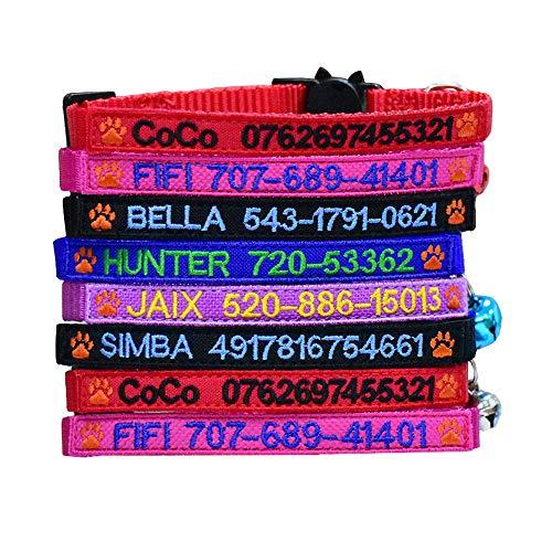 Graceful life Katzenhalsband, personalisierbar mit Glöckchen (5 Color, Paw)
