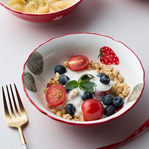 GaoF Vajilla Japonesa, tazón de cerámica para Ensalada de Frutas, tazón de Fideos, tazón de arroz con Personalidad de Fresa, hogar (tamaño: 6 Pulgadas)