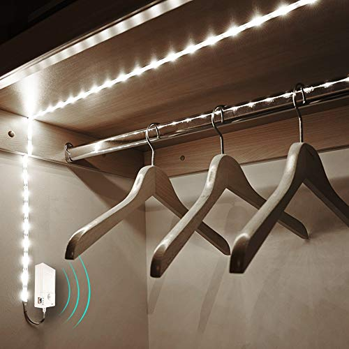2 Pack Motion Sensor Strip Lights, 6.6Ft 60LEDs Under Cabinet Strip Light, Sensor On/Off, 3M Self-Adhesive & Magnetic Box, Battery Operated Closet Night Tape Lights for Stairs, Kitchen (Cool White)