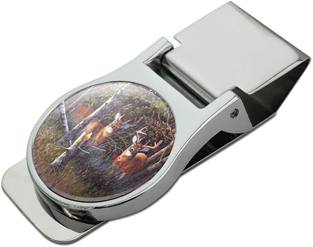 Deer in the Woods Satin Chrome Plated Metal Money Clip