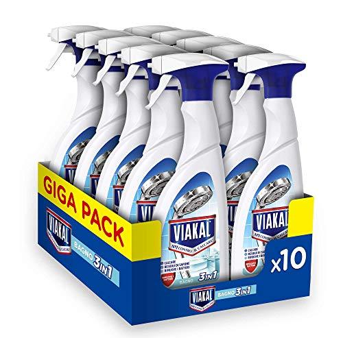 Viakal Detersivo Anticalcare Spray Bagno 3 in 1, Maxi Formato 10 Pezzi da 515 ml