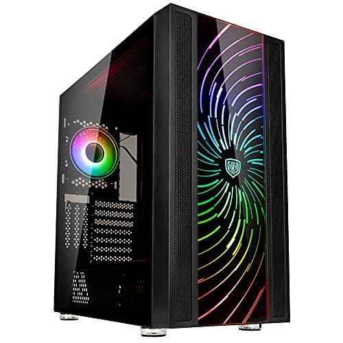 Kolink Unity Adapt - Carcasa para PC, torre media, carcasa de cristal, placa frontal ARGB intercambiable, varios diseños disponibles, carcasa de vidrio templado, placa frontal con ventilación lateral