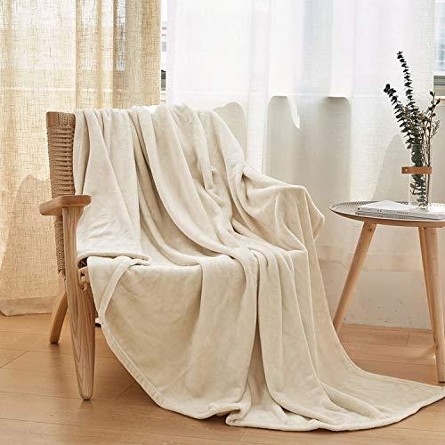 VEEYOO Plaid Couverture Couvre-lit 230x230cm pour 2 Personnes - Douce et Chaude Couverture en Microfibre Jeté de lit, Ivoire Flanelle Couverture
