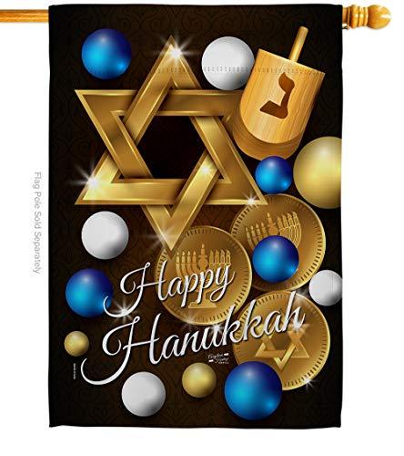 Angeleno Heritage Hanukkah Happy House Flag Winter Candle Bonsai Menorah Jewish Chanukah David Small Decorative Gift Yard Banner Made in USA 28 X 40