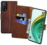 Suncase Book-Style Hülle kompatibel mit Xiaomi Mi 10T Pro 5G Leder Tasche (Slim-Fit) Lederhülle Handytasche Schutzhülle Hülle mit 3 Kartenfächer in antik-Coffee